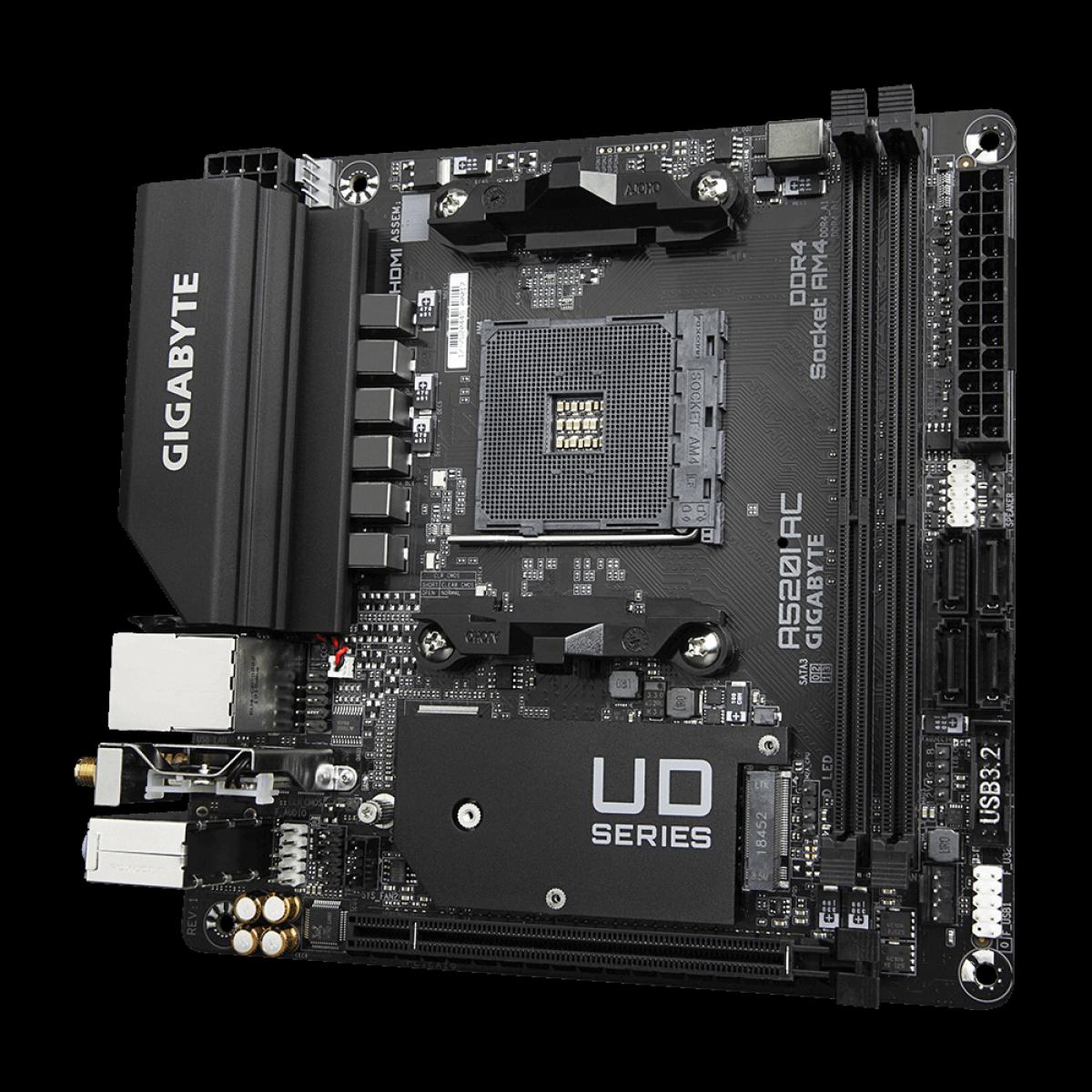 Placa Mãe Gigabyte A520I AC, Chipset A520, AMD AM4, Wi-Fi, Mini-ITX, DDR4, 9MA52IAC-00-11