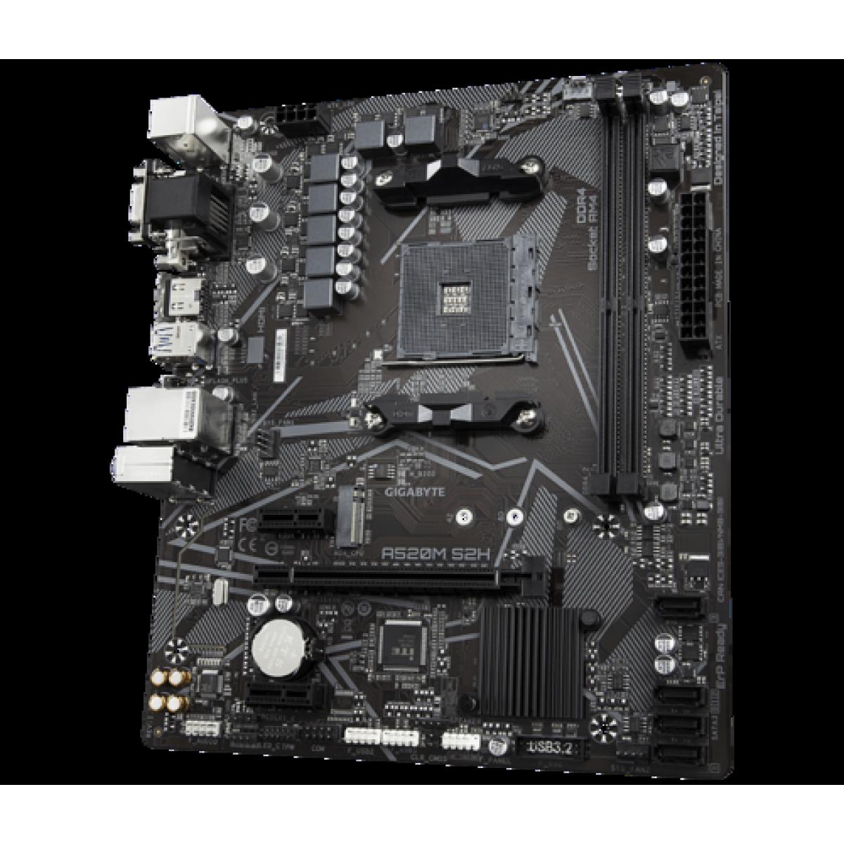 Placa Mãe Gigabyte A520M S2H, Chipset A520, AMD AM4, mATX, DDR4