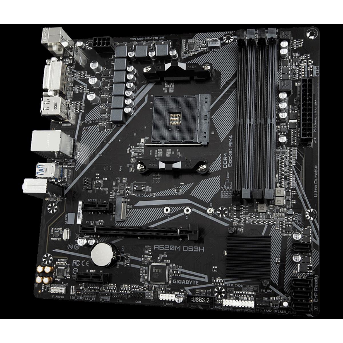Placa Mãe Gigabyte A520M DS3H, Chipset A520, AMD AM4, mATX, DDR4