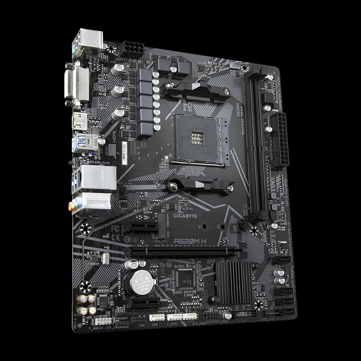 Placa Mãe Gigabyte A520MH, AMD, DDR4, AM4