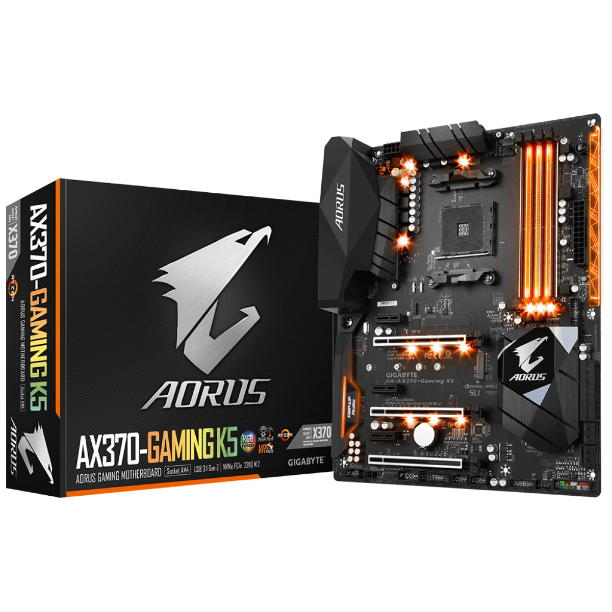 Placa Mãe Gigabyte AORUS GA-AX370-Gaming K5, Chipset X370, AMD AM4, ATX, DDR4