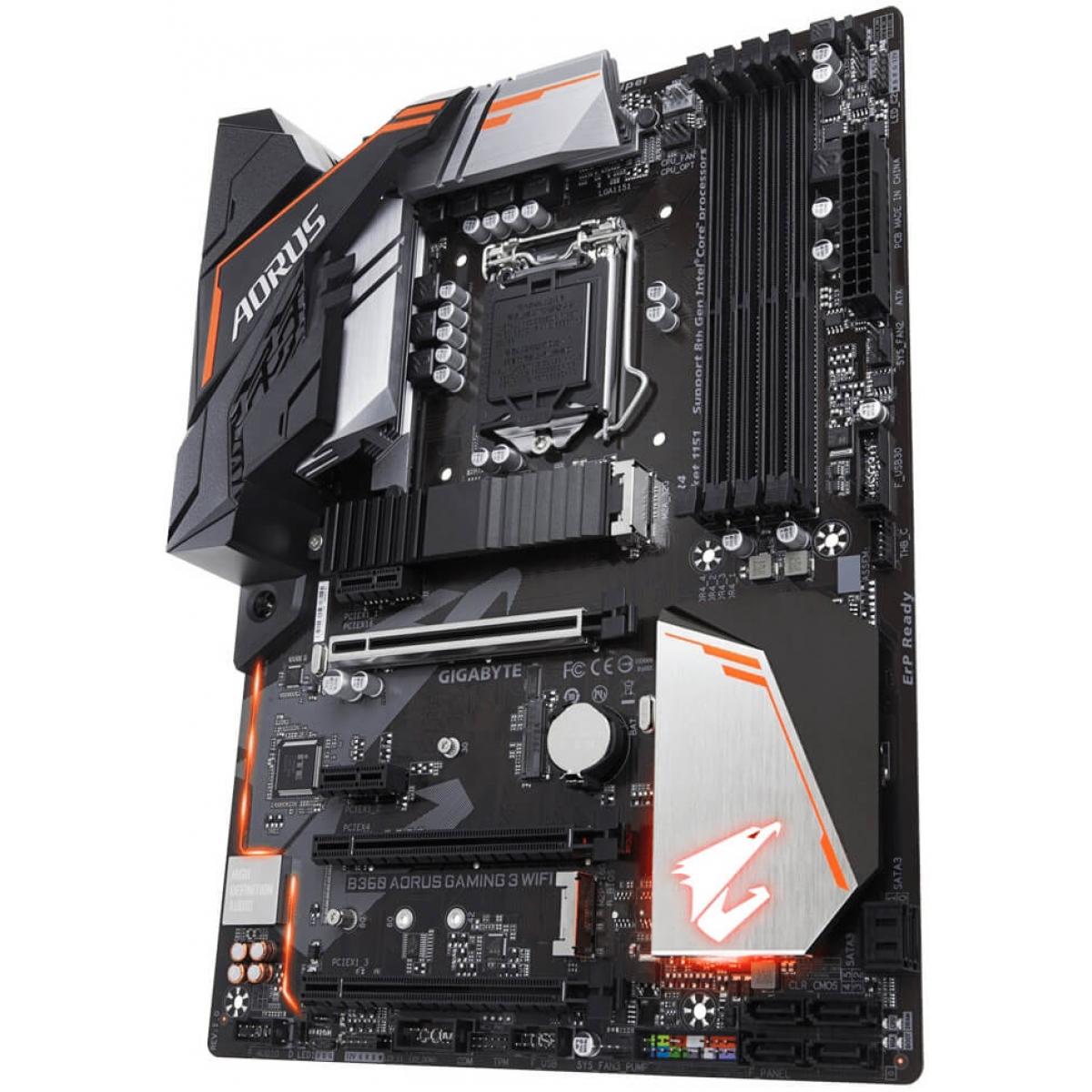 Placa Mãe Gigabyte B360 AORUS GAMING 3 WIFI, Chipset B360, Intel LGA 1151, ATX, DDR4