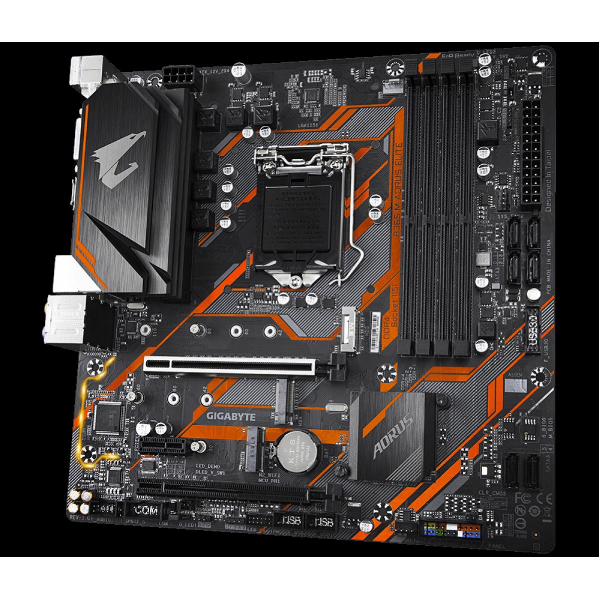 Placa mãe Gigabyte B365M Aorus Elite, Chipset B365, Intel LGA 1151, mATX, DDR4