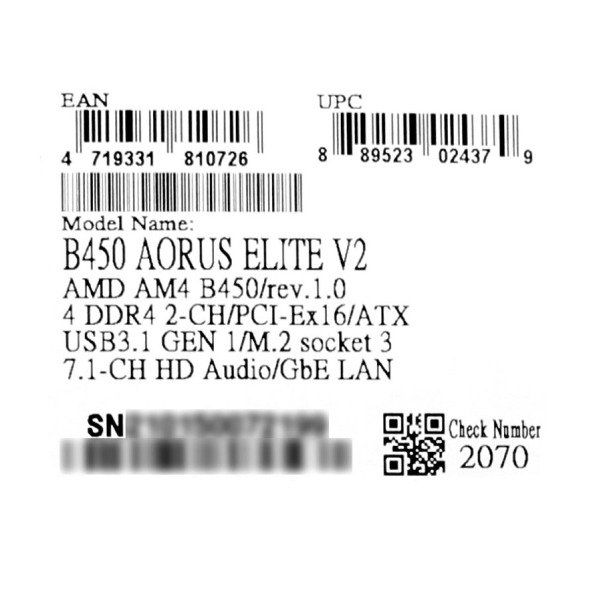 Placa Mãe Gigabyte B450 Aorus Elite V2, Chipset B450, AMD AM4, ATX, DDR4