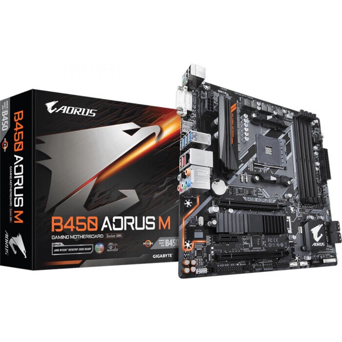 Placa Mãe Gigabyte B450 AORUS M, Chipset B450, AMD AM4, mATX, DDR4 - Open Box