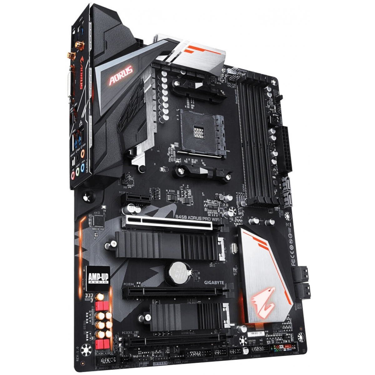 Placa Mãe Gigabyte B450 AORUS PRO WIFI, Chipset B450, AMD AM4, ATX, DDR4