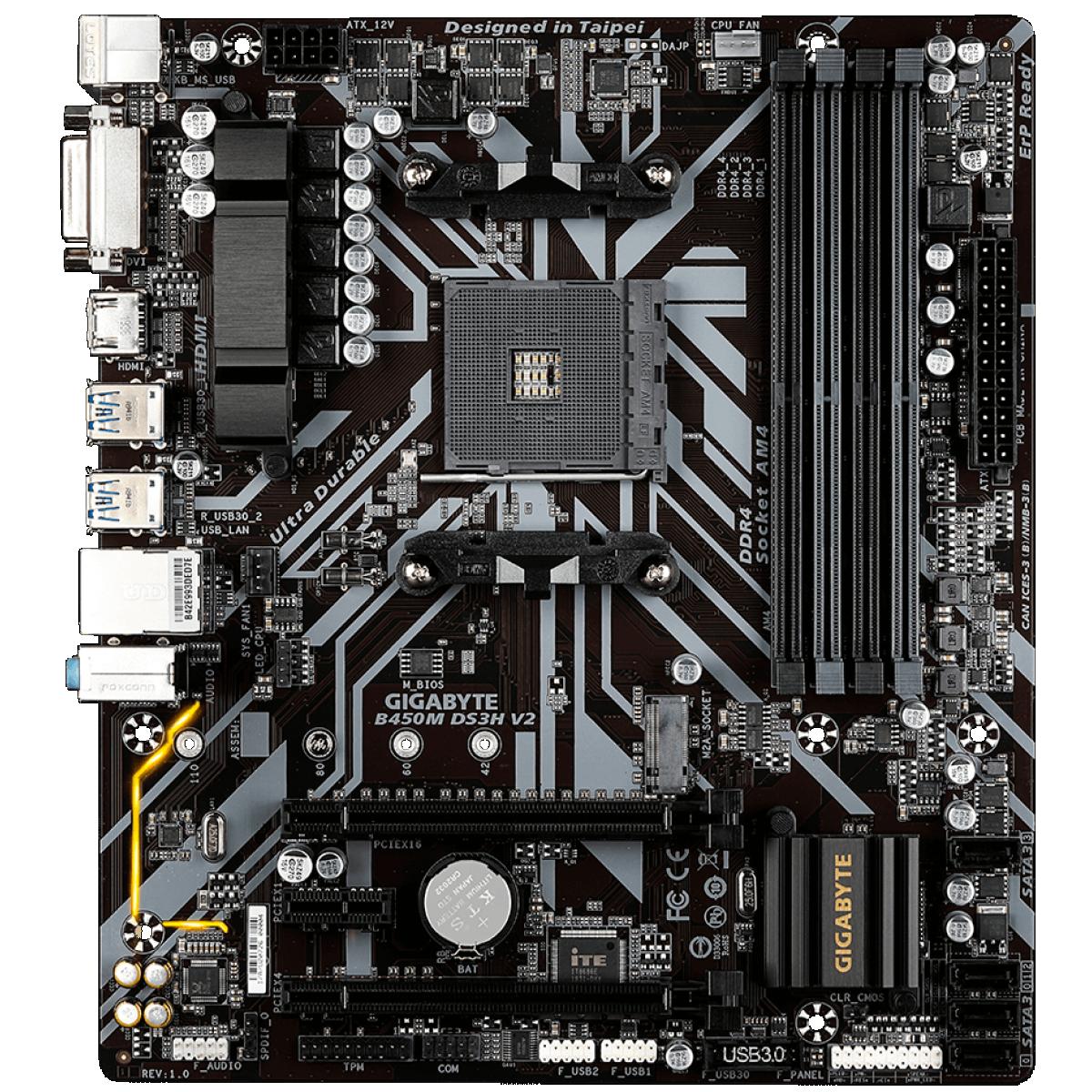 Placa Mãe Gigabyte B450M DS3H V2, Chipset B450, AMD AM4, mATX, DDR4 - Open Box