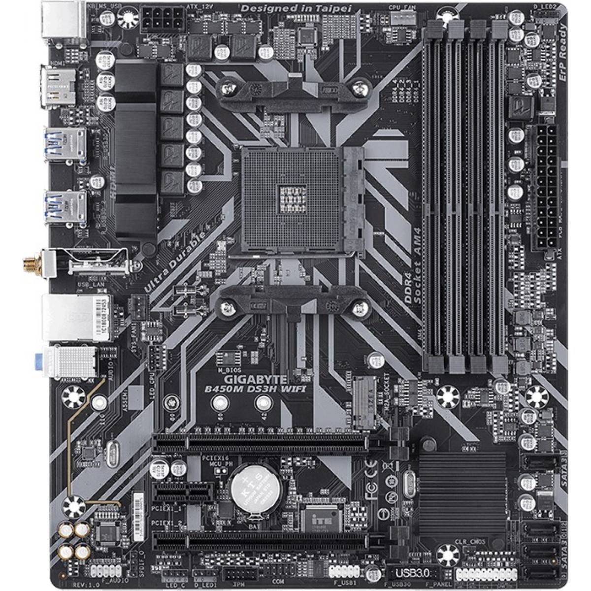 Placa Mãe Gigabyte B450M DS3H WIFI, Chipset B450, AMD AM4, mATX, DDR4