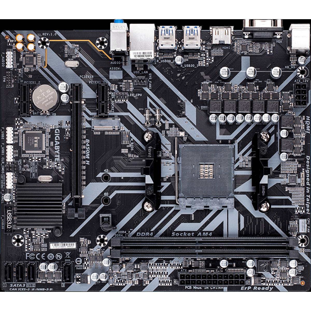 Placa Mãe Gigabyte B450M H, Chipset B450, AMD AM4, mATX, DDR4