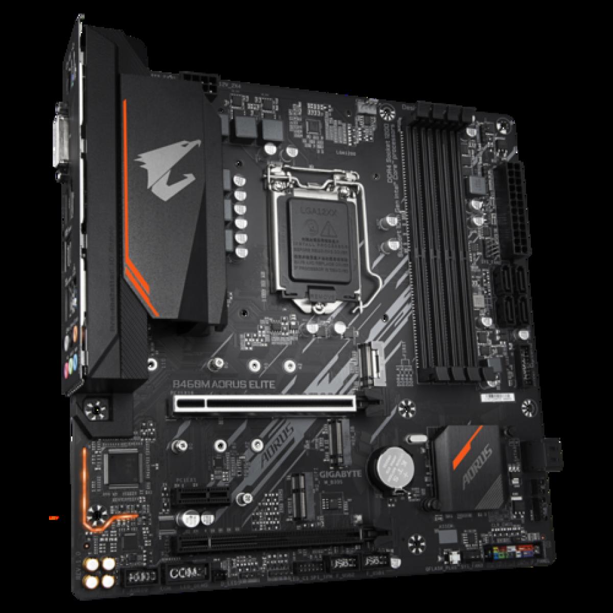 Placa Mãe Gigabyte B460M AORUS Elite, Chipset B460, Intel LGA 1200, mATX, DDR4