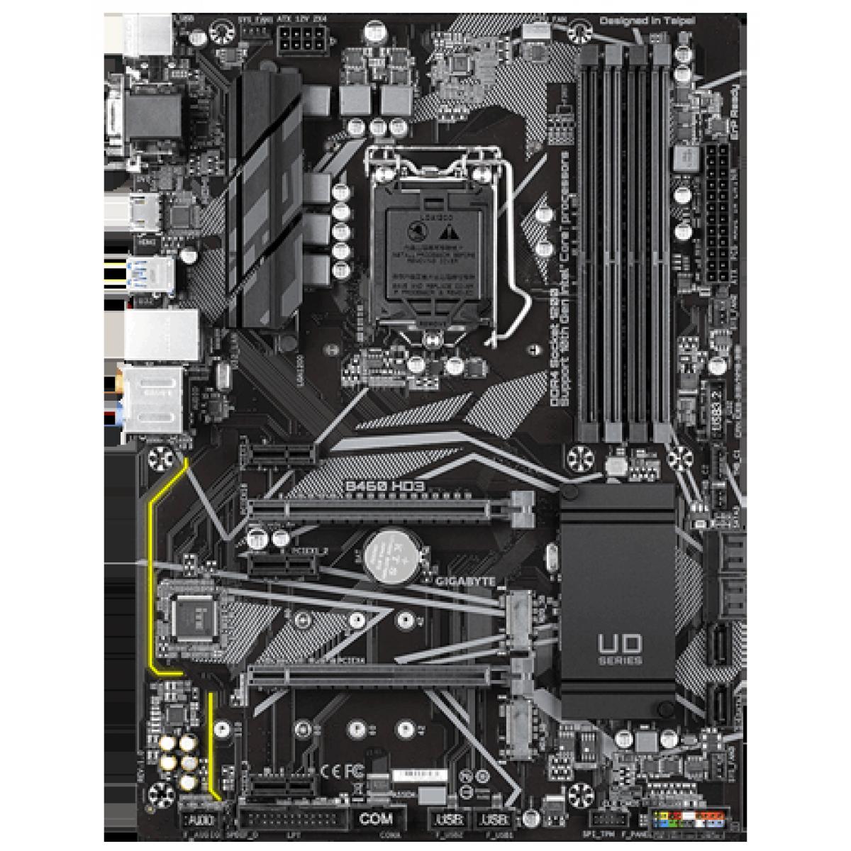 Placa Mãe Gigabyte B460 HD3, Chipset B460, Intel LGA 1200, ATX, DDR4