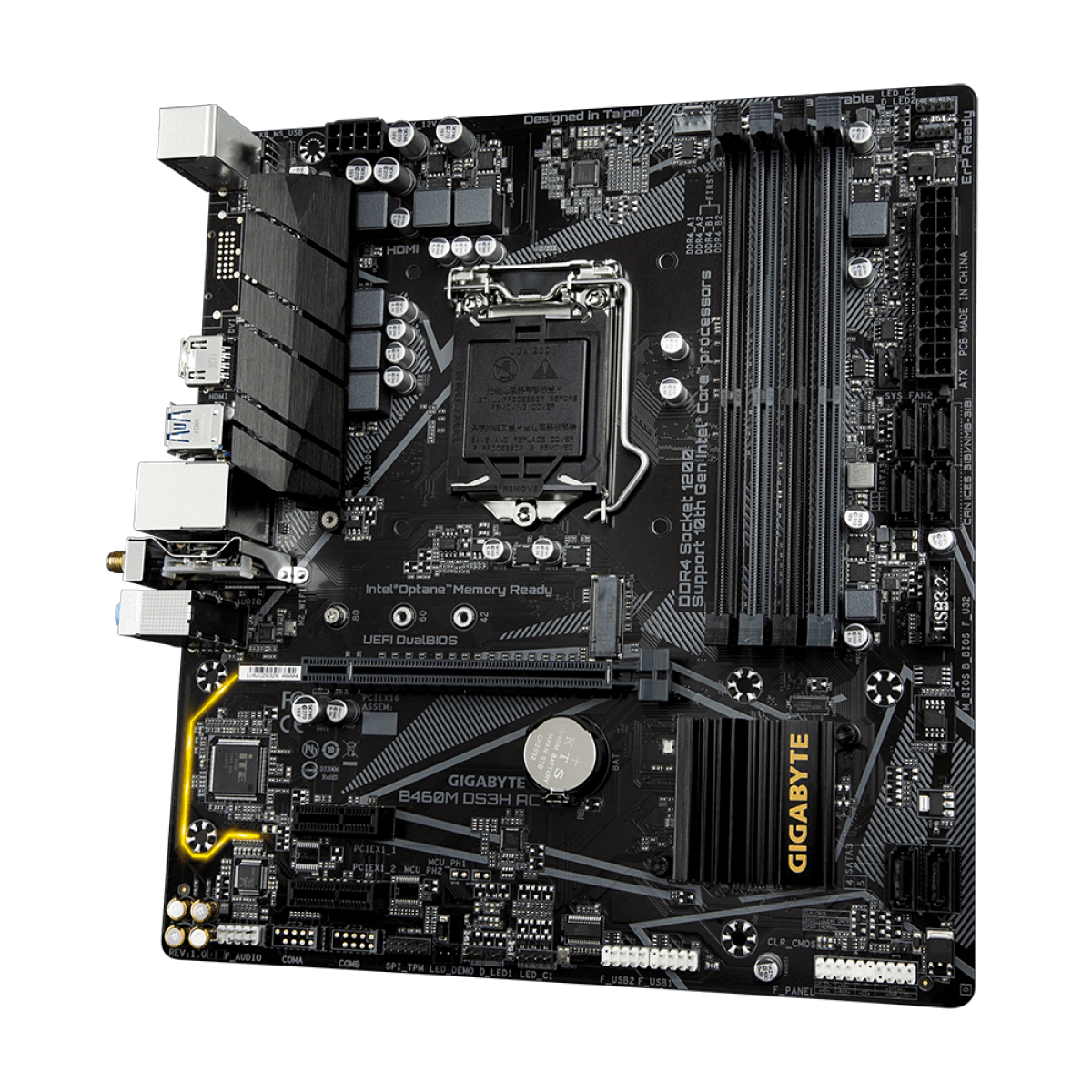Placa Mãe Gigabyte B460M DS3H AC, Chipset B460, Intel LGA 1200 , Wi-Fi, mATX, DDR4, 9MB46M3HA-00-11
