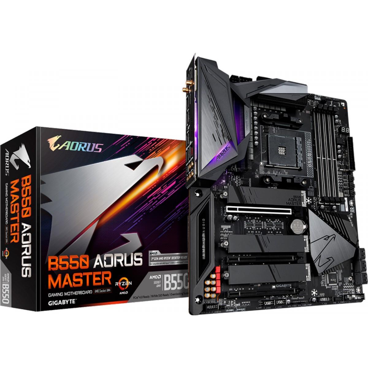 Placa Mãe Gigabyte B550 Aorus Master, Chipset B550, AMD AM4, ATX, DDR4