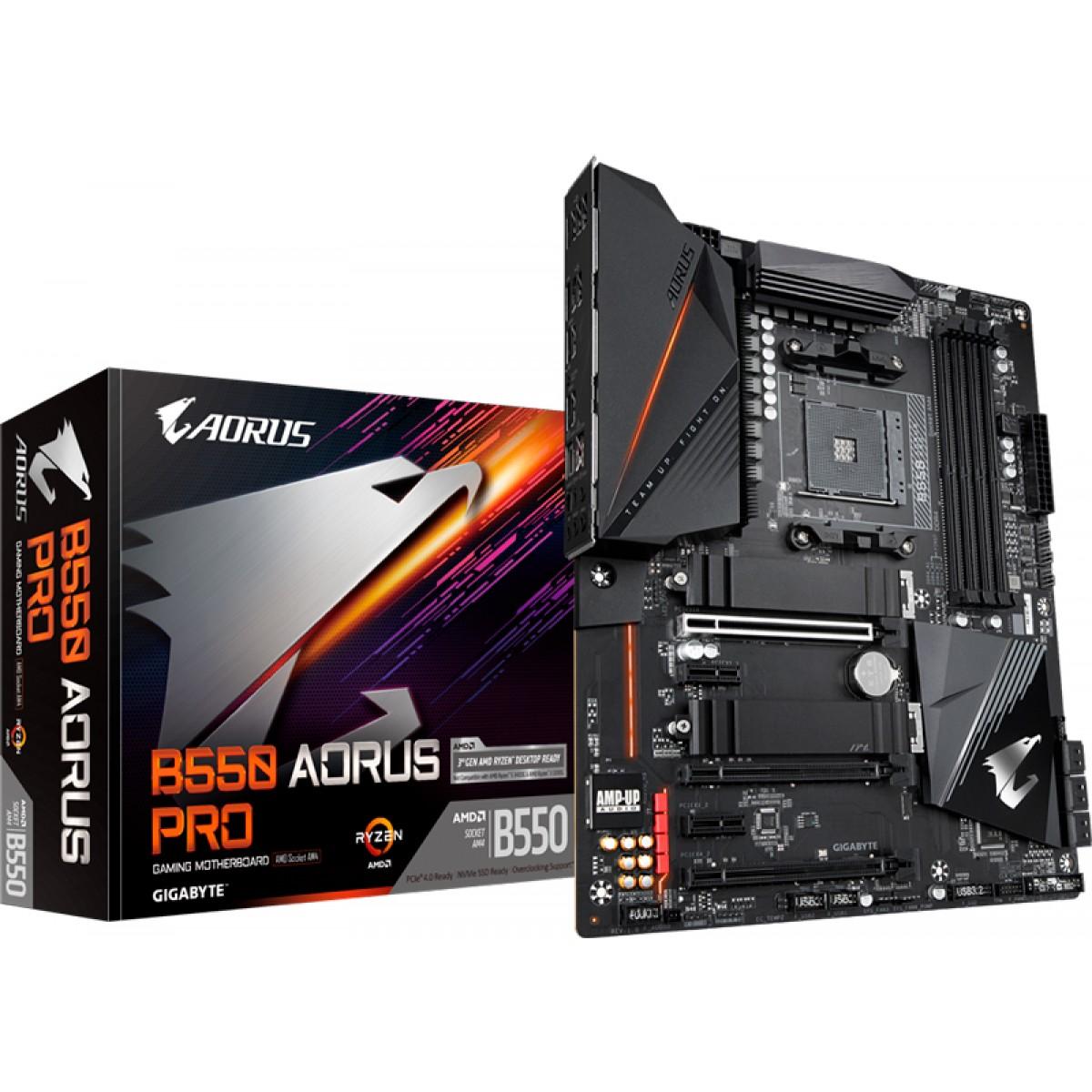Placa Mãe Gigabyte B550 Aorus Pro, Chipset B550, AMD AM4, ATX, DDR4