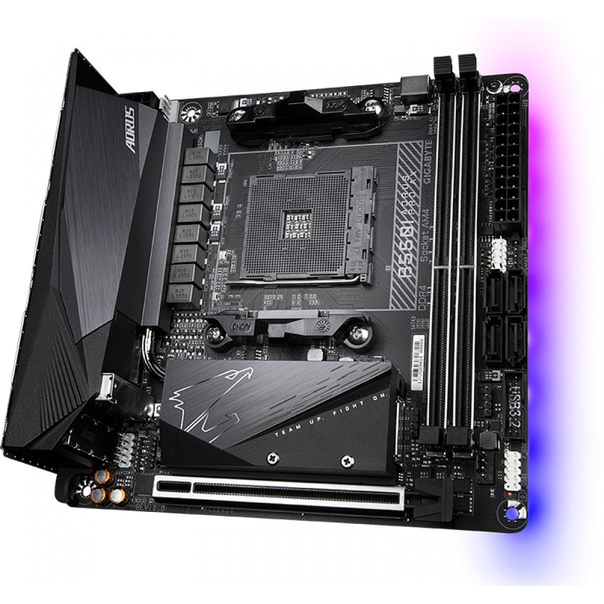 Placa Mãe Gigabyte B550I Aorus Pro Ax, Chipset B550, AMD AM4, Mini-ITX, DDR4, 9MB55IAPW-00-10