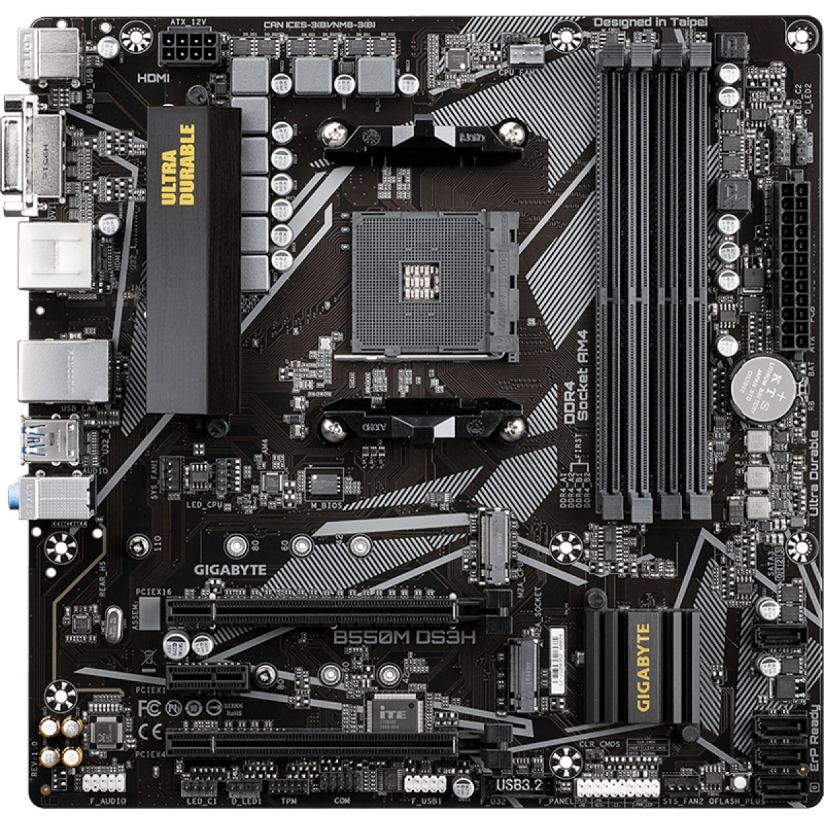Placa Mãe Gigabyte B550M DS3H, Chipset B550, AMD AM4, mATX, DDR4, 9MB55MDSH-00-10