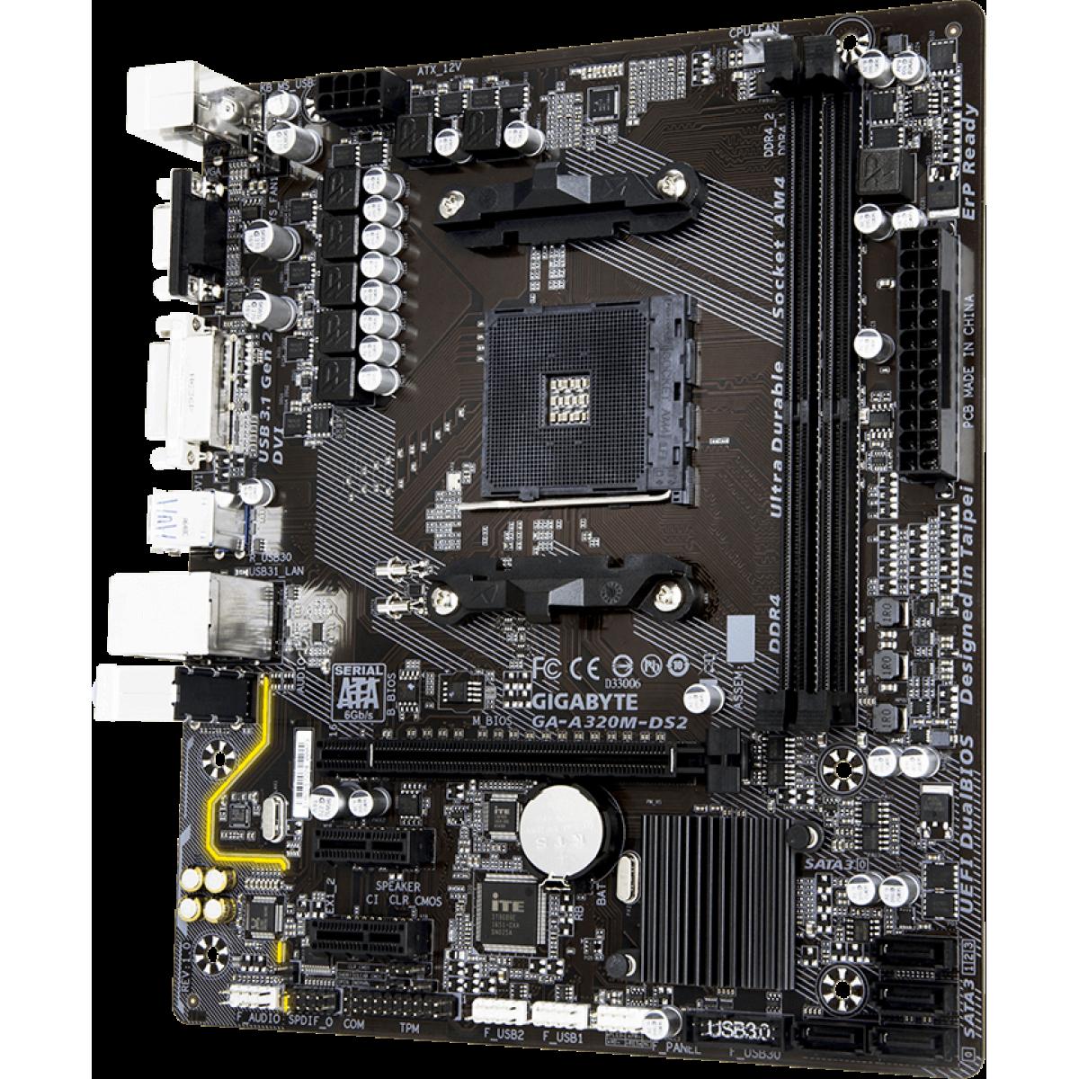 Placa Mãe Gigabyte GA-A320M-DS2, Chipset A320, AMD AM4, mATX, DDR4