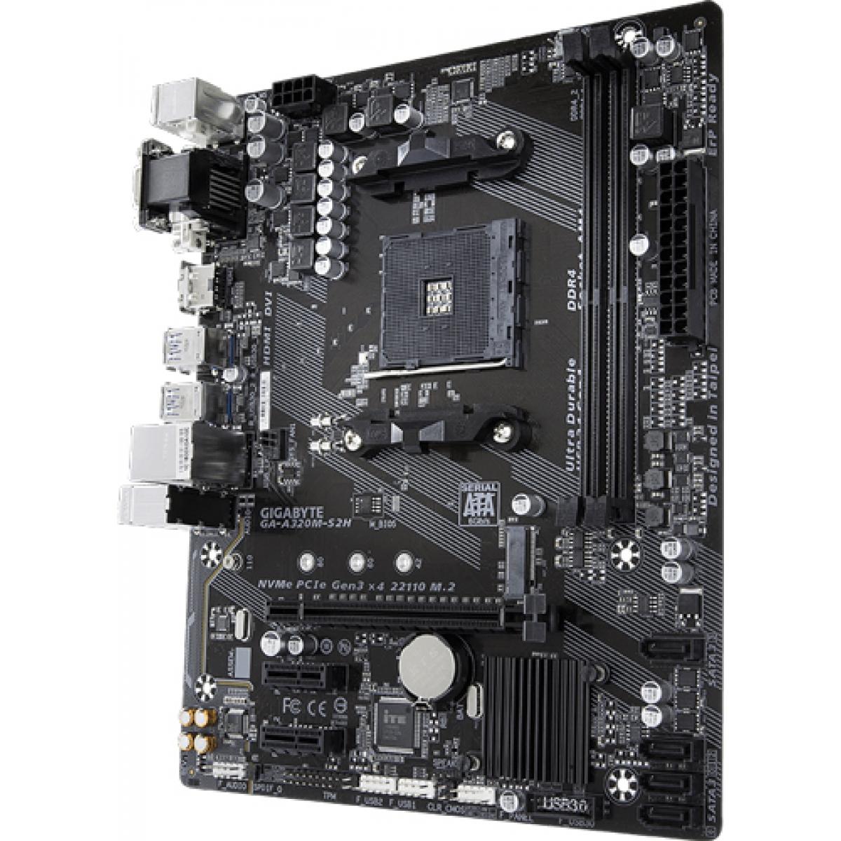 Placa Mãe Gigabyte GA-A320M-S2H, Chipset A320, AMD AM4, mATX, DDR4