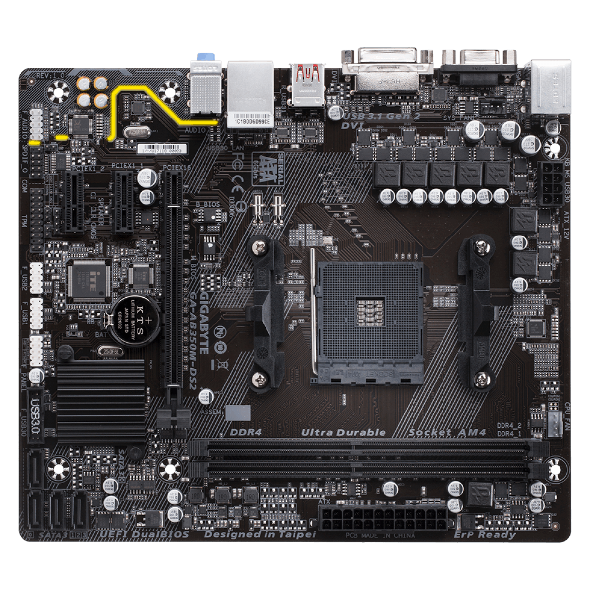 Placa Mãe Gigabyte GA-AB350M-DS2, Chipset B350, AMD AM4, mATX, DDR4