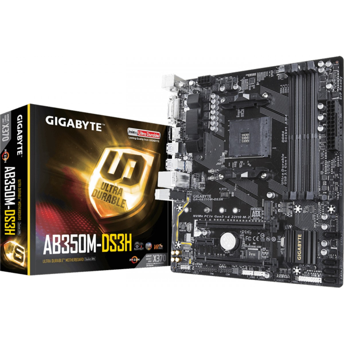 Placa Mãe Gigabyte GA-AB350M-DS3H V2, Chipset B350, AMD AM4, mATX, DDR4