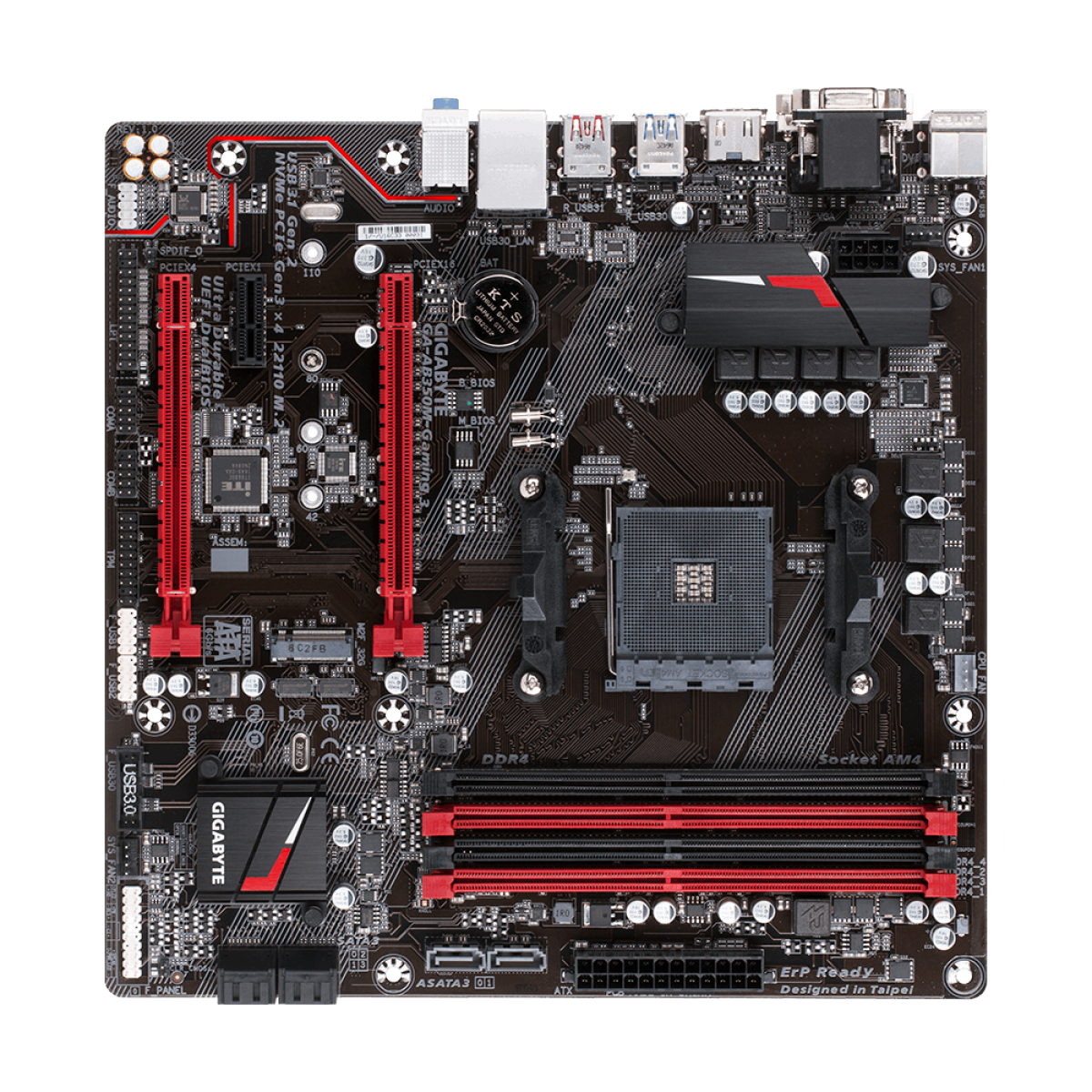 Placa Mãe Gigabyte GA-AB350M-GAMING 3, Chipset B350, AMD AM4, mATX, DDR4