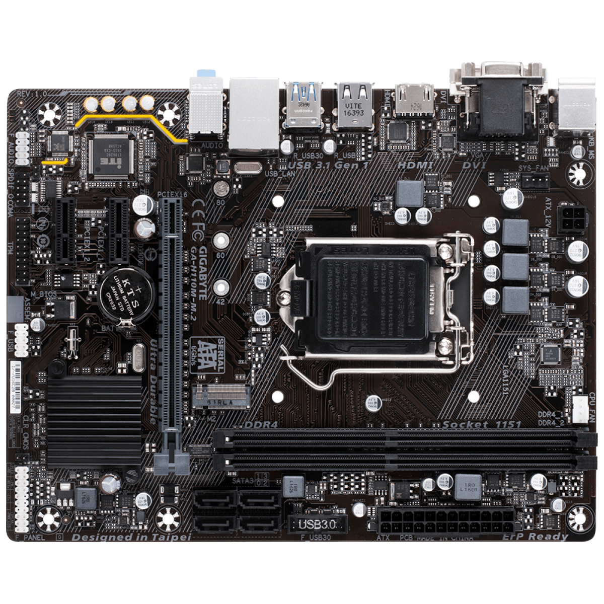 Placa Mãe Gigabyte GA-H110M-M2, Chipset H110, Intel LGA 1151, mATX, DDR4