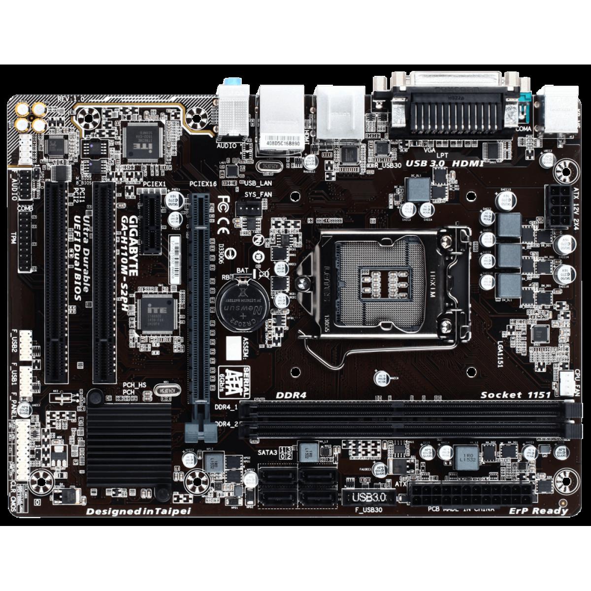 Placa Mãe Gigabyte GA-H110M-S2PH, Chipset H110, Intel LGA 1151, mATX, DDR4