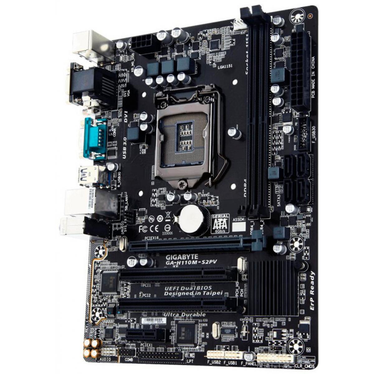 Placa Mãe Gigabyte GA-H110M-S2PV, Chipset H110, Intel LGA 1151, mATX, DDR4