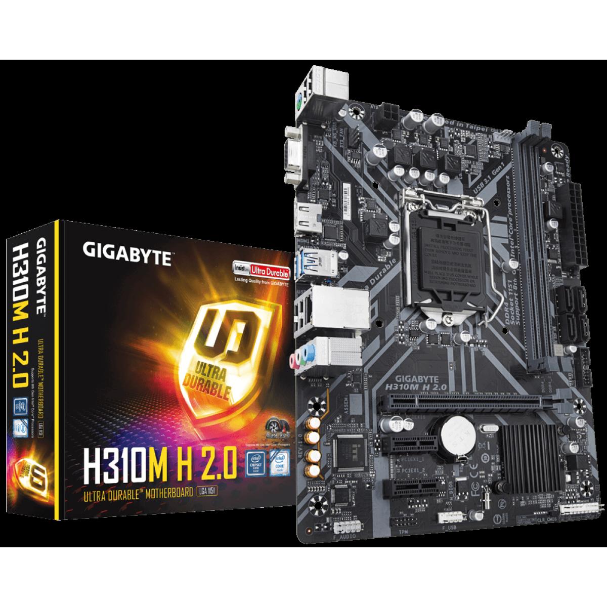 Placa Mãe Gigabyte H310M H 2.0, Chipset H310, Intel LGA 1151, mATX, DDR4