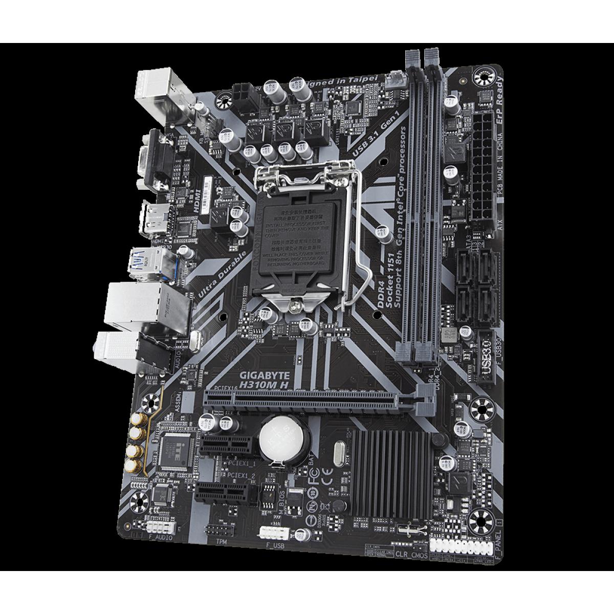 Placa Mãe Gigabyte H310M H, Chipset H310, Intel LGA 1151, mATX, DDR4, Rev. 1.1