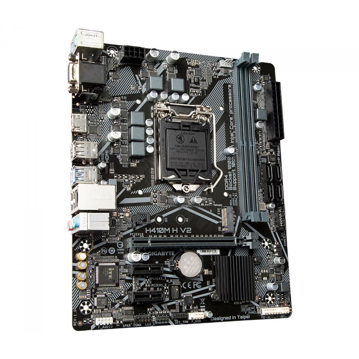 Placa Mãe Gigabyte H410M H V2, Chipset H470, Intel LGA 1200, mATX, DDR4