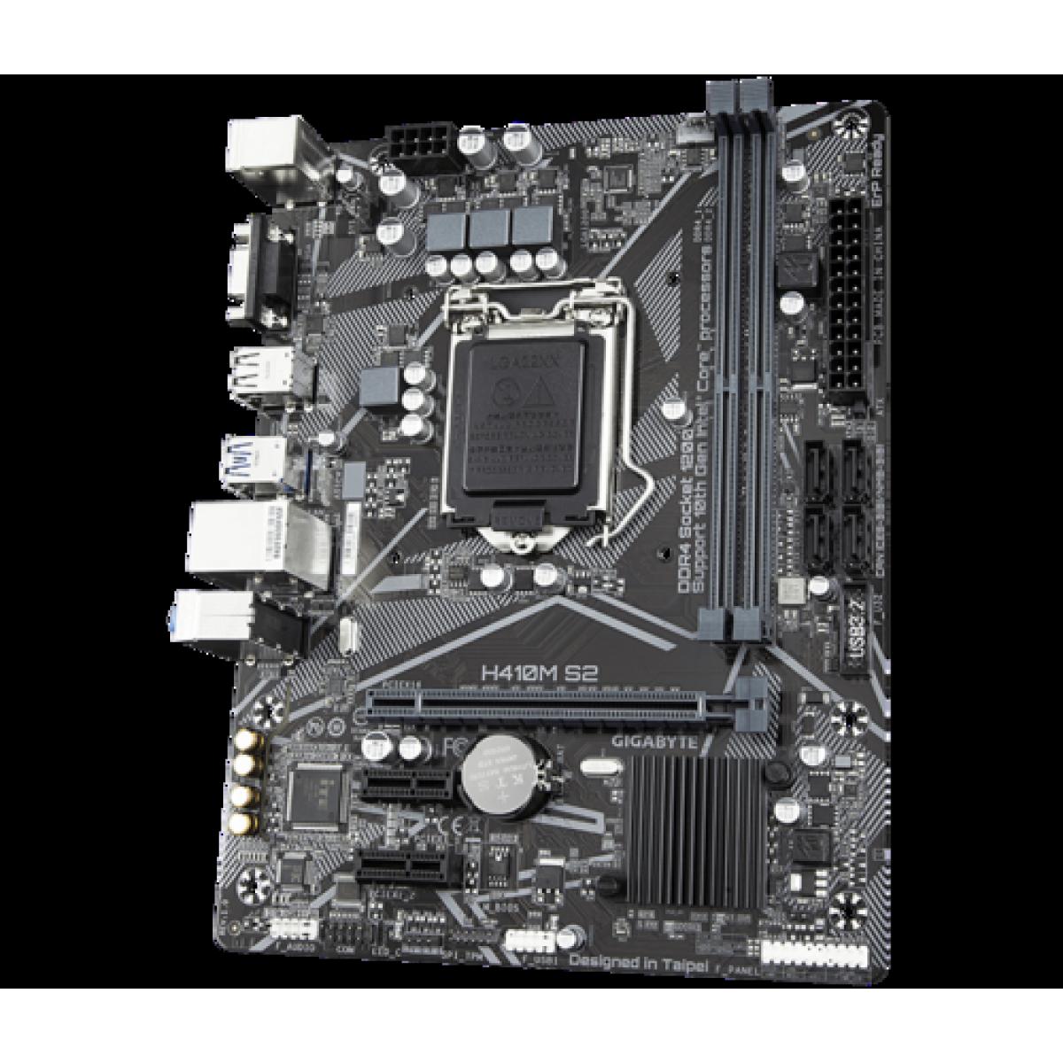 Placa Mãe Gigabyte H410M S2, Chipset H410, Intel LGA 1200, mATX, DDR4