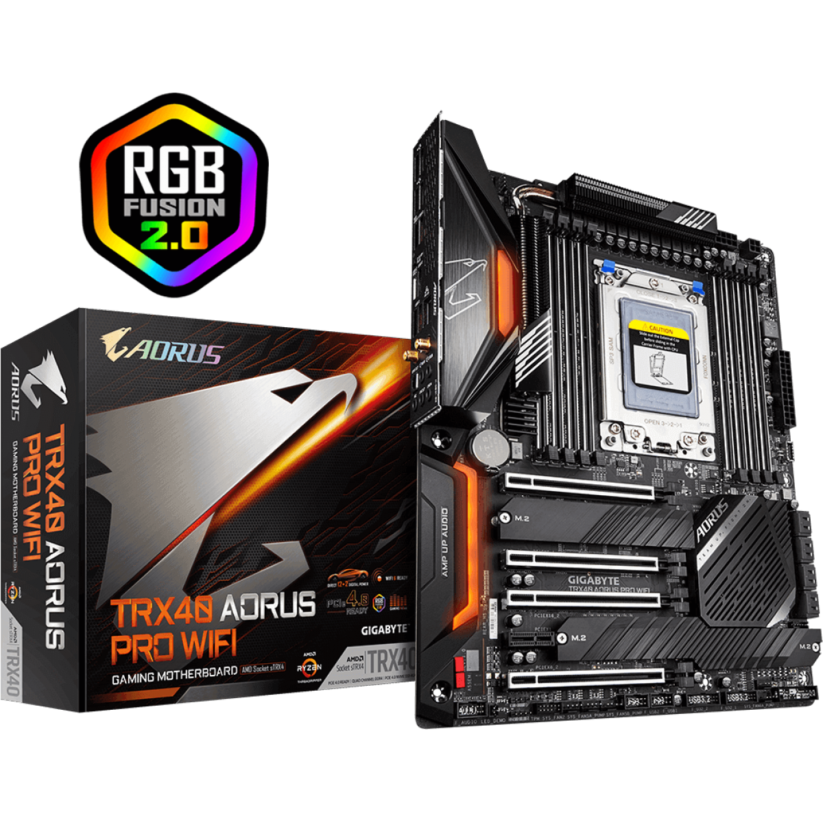 Placa Mãe Gigabyte TRX40 Aorus PRo Wifi, Chipset TRX40, AMD TRX4, ATX, DDR4
