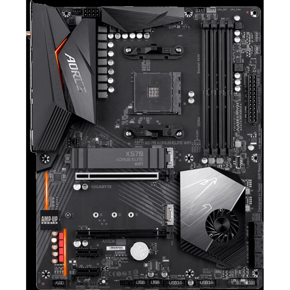 Placa Mãe Gigabyte X570 Aorus Elite WI-FI, Chipset X570, AMD AM4, ATX, DDR4