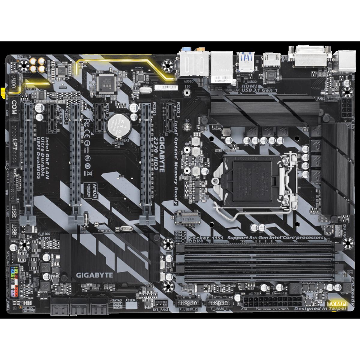Placa Mãe Gigabyte Z370 HD3, Chipset Z370, Intel LGA 1151, ATX, DDR4
