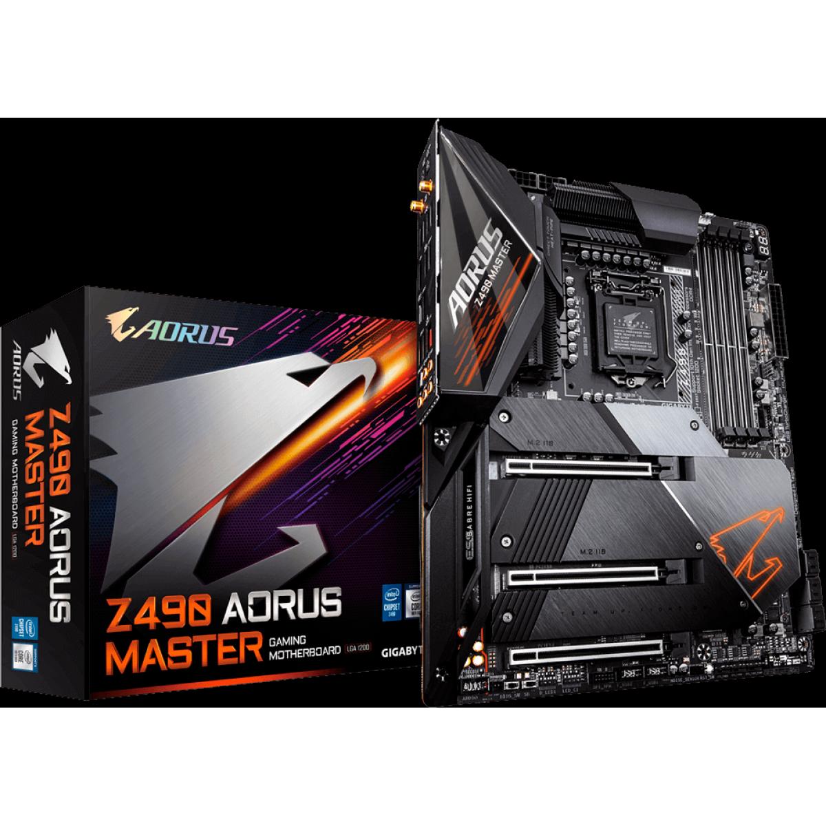 Placa Mãe Gigabyte Z490 Aorus Master, Chipset Z490, Intel LGA 1200, Wi-Fi, ATX, DDR4