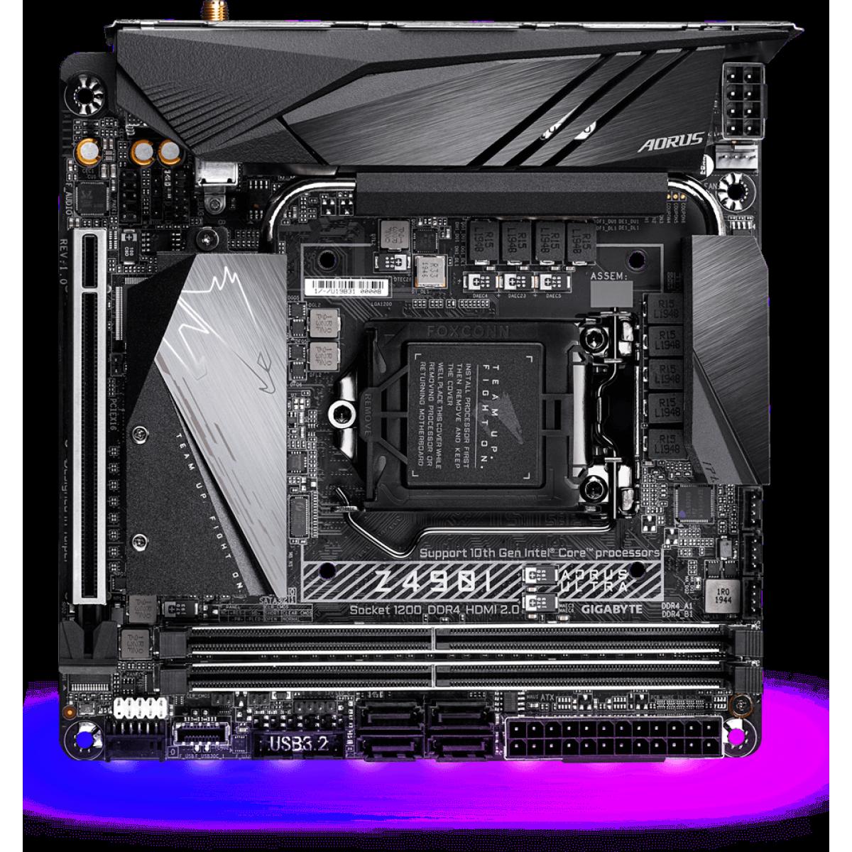 Placa Mãe Gigabyte Z49I Aorus Ultra 1.0, Chipset Z490, Intel LGA 1200, Wi-Fi, Mini-ITX, DDR4