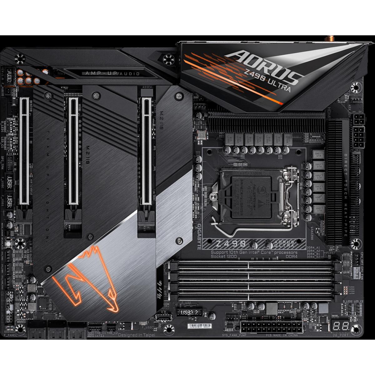 Placa Mãe Gigabyte Z490 Aorus Ultra 1.1, Chipset Z490, Intel LGA 1200, Wi-Fi, ATX, DDR4