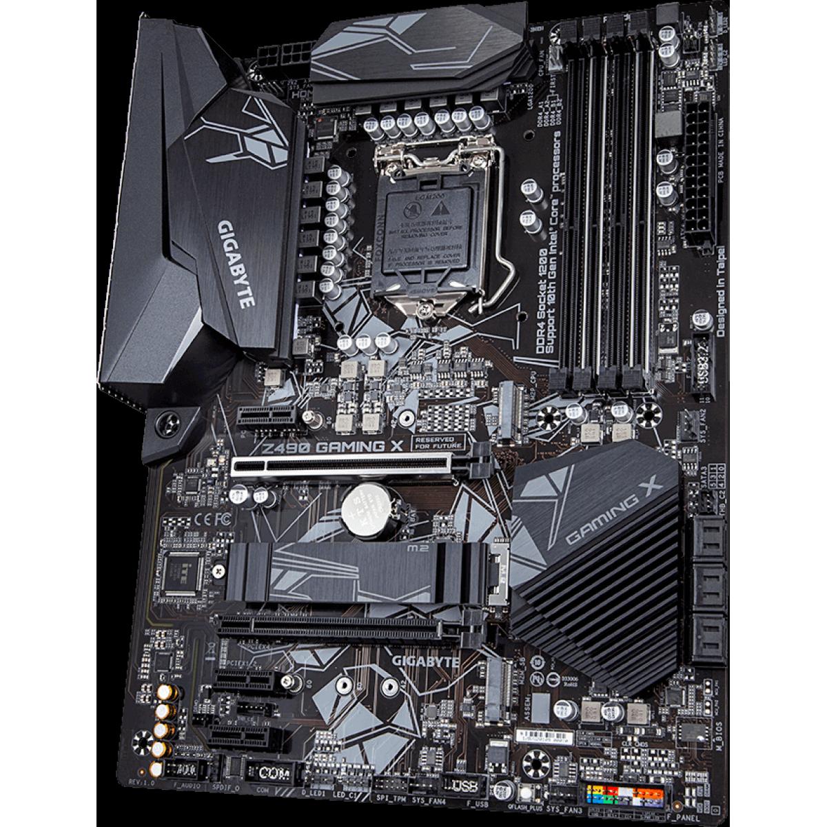 Placa Mãe Gigabyte Z490 Gaming X 1.0, Chipset Z490, Intel LGA 1200, ATX, DDR4