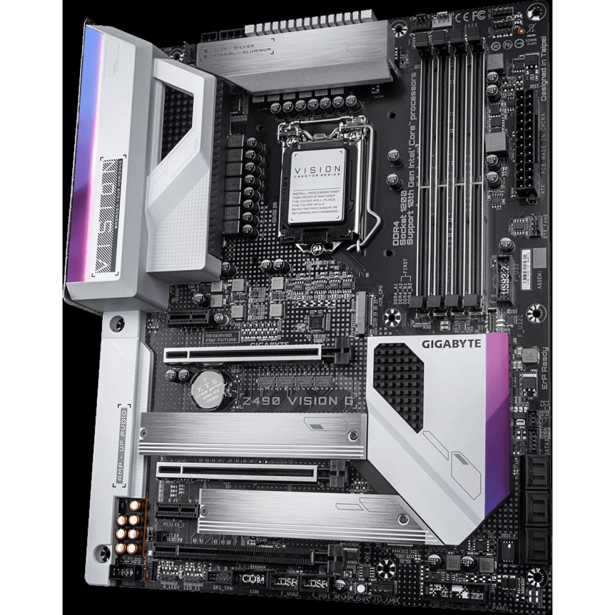 Placa Mãe Gigabyte Z490 Vision G, Chipset Z490, Intel LGA 1200, ATX, DDR4