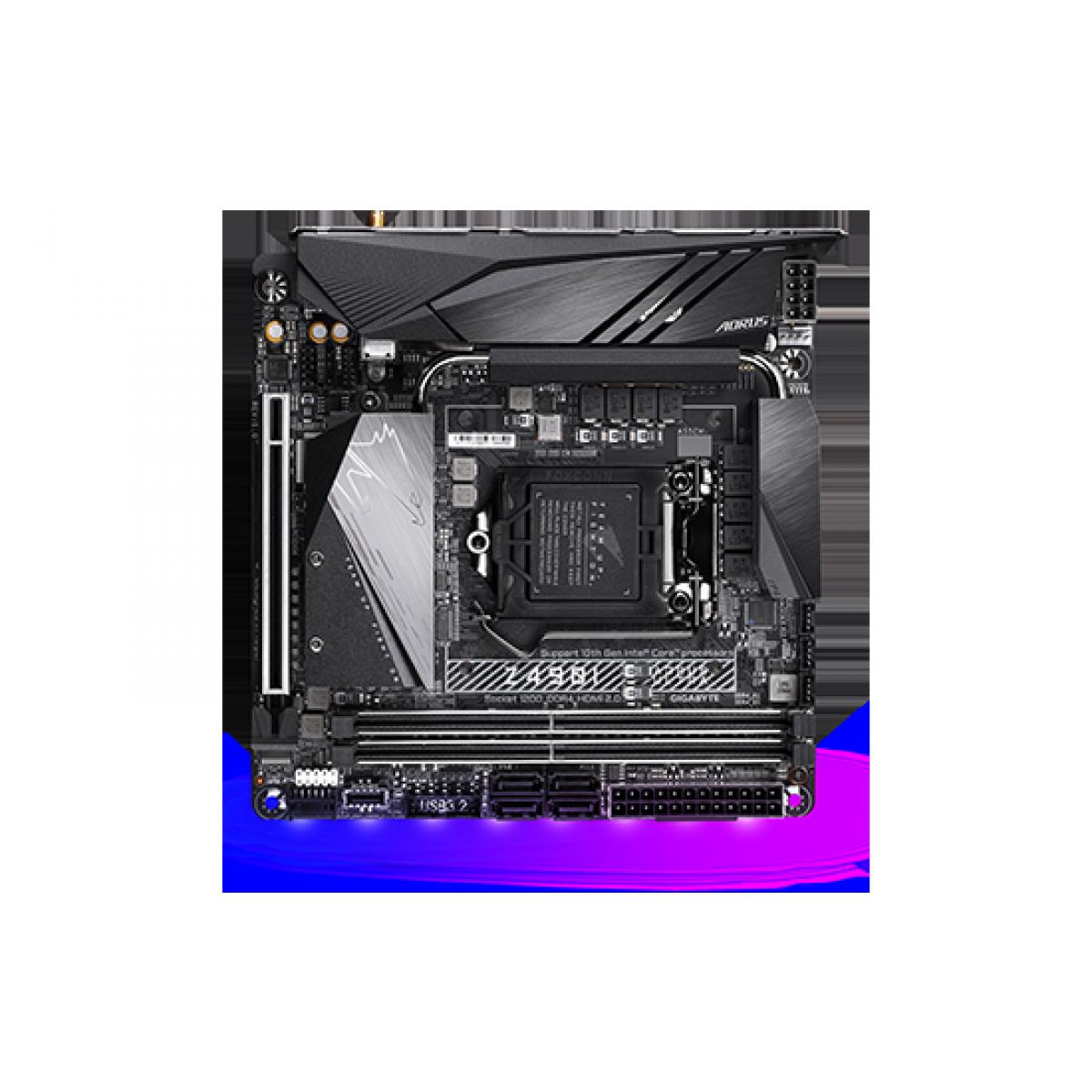 Placa Mãe Gigabyte Z49I Aorus Ultra, Chipset Z490, Intel LGA 1200, Wi-Fi, Mini-ITX, DDR4 - Open Box