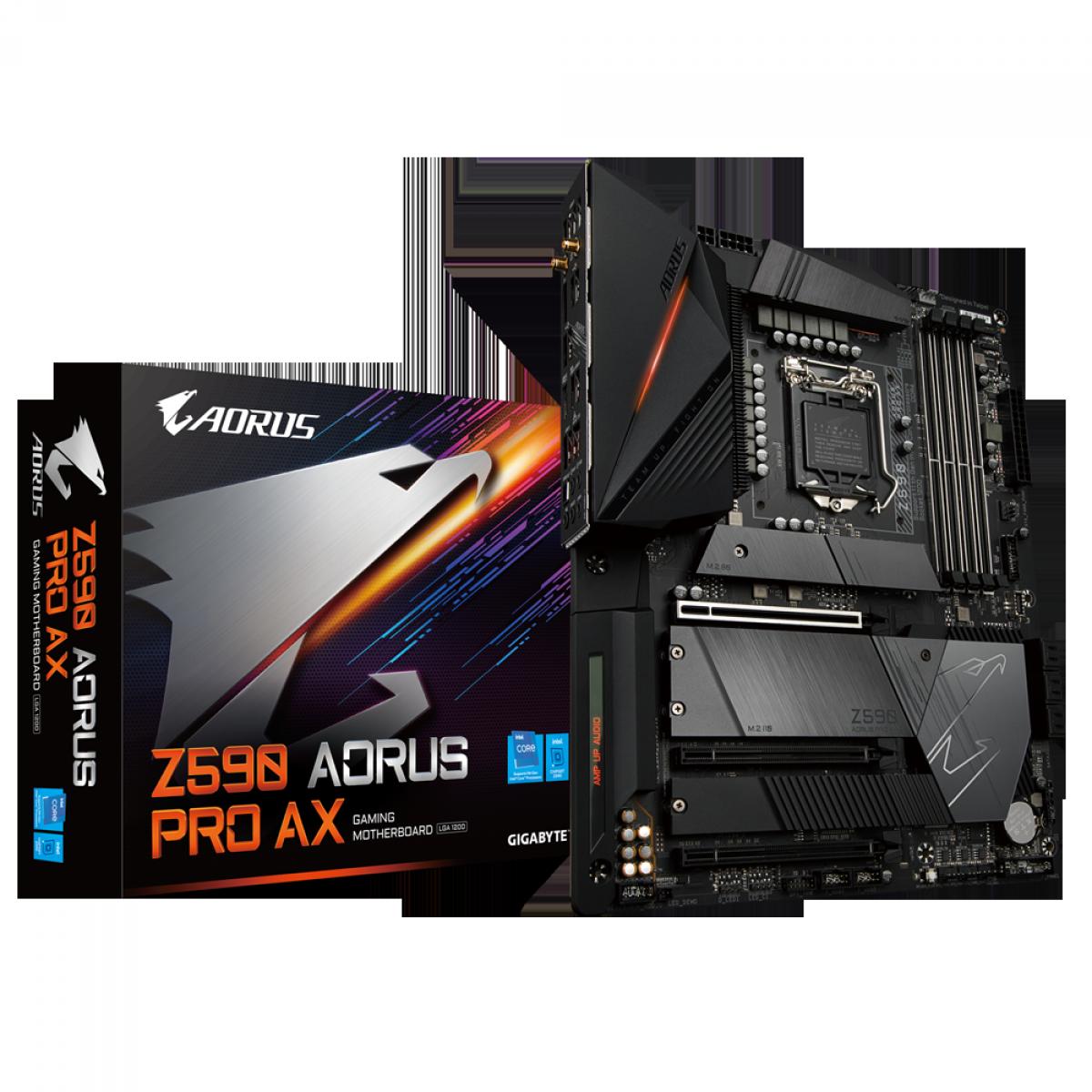 Placa Mãe GIGABYTE Z590 AORUS PRO AX (rev. 1.0), Intel Z590 Express Chipset, Socket 1200, ATX, DDR4