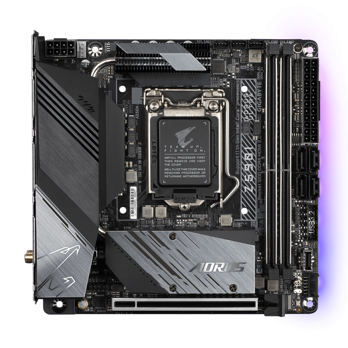 Placa Mãe GIGABYTE Z590I AORUS ULTRA, Intel Z590 Express Chipset, Socket 1200, Mini-ITX, DDR4