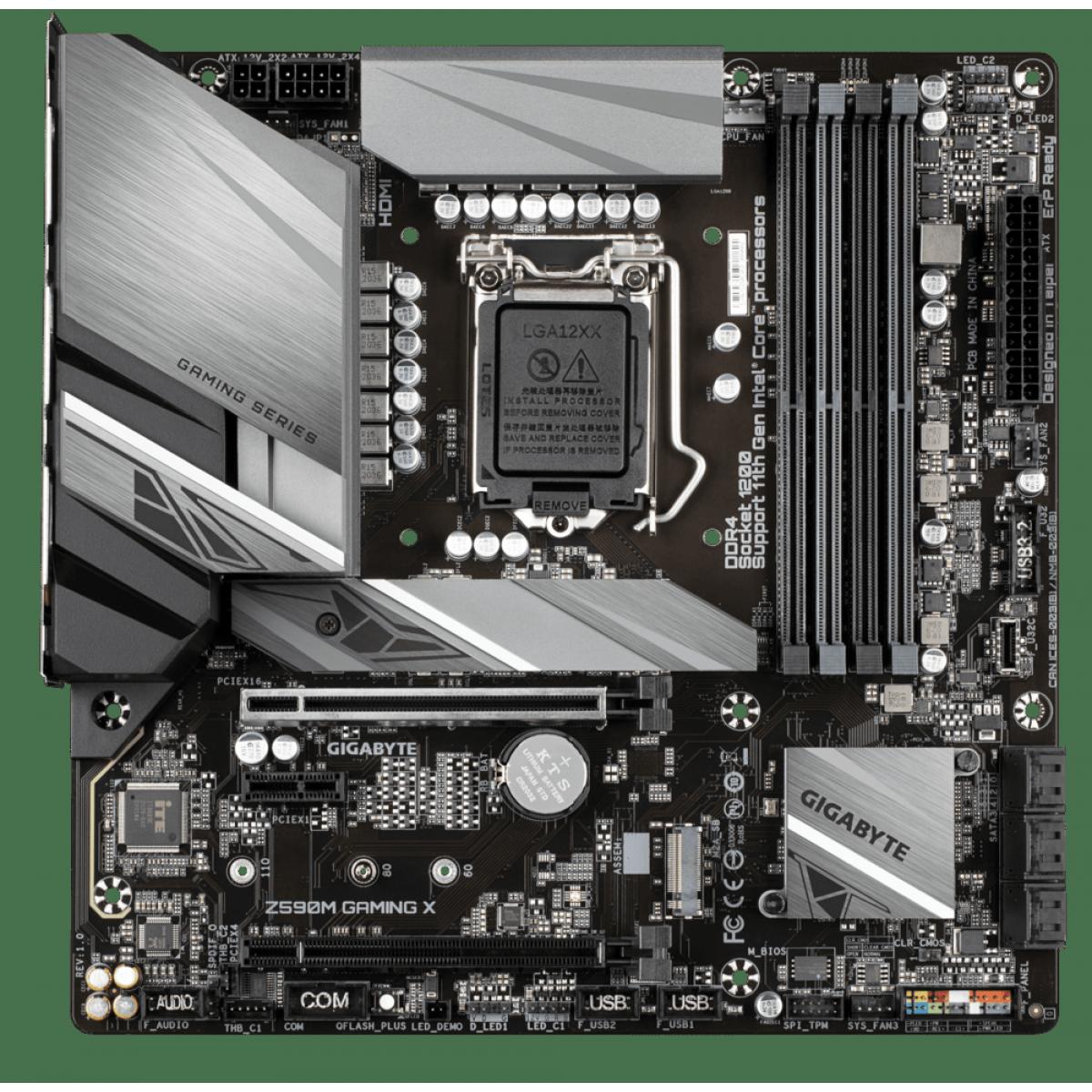 Placa Mãe GIGABYTE Z590M GAMING X (rev. 1.0), Intel Z590 Express Chipset, Socket 1200, mATX, DDR4