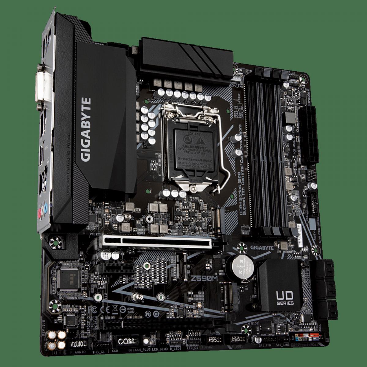 Placa Mãe GIGABYTE Z590M (rev. 1.0), Intel Z590 Express Chipset, Socket 1200, mATX, DDR4