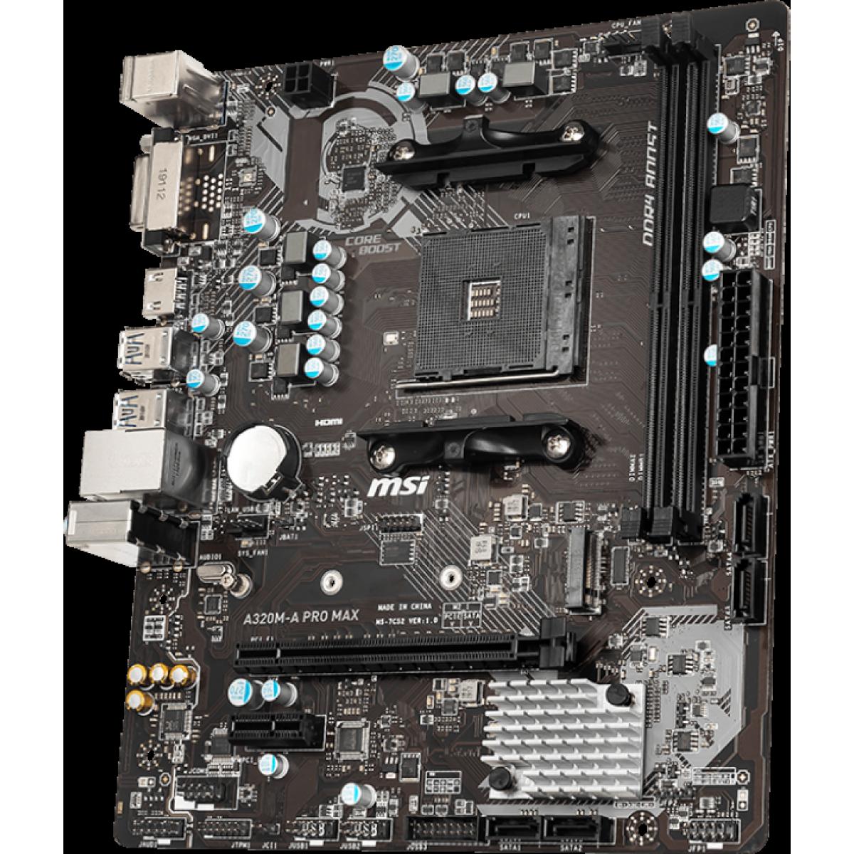 Placa Mãe MSI A320M-A Pro Max, Chipset A320, AMD AM4, mATX, DDR4