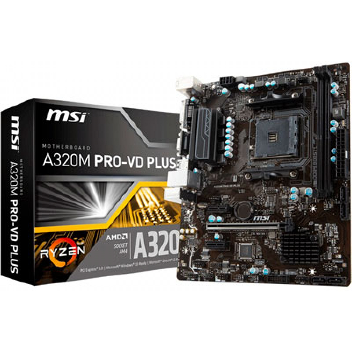 Placa Mãe MSI A320M PRO-VD PLUS, Chipset A320, AMD AM4, mATX, DDR4