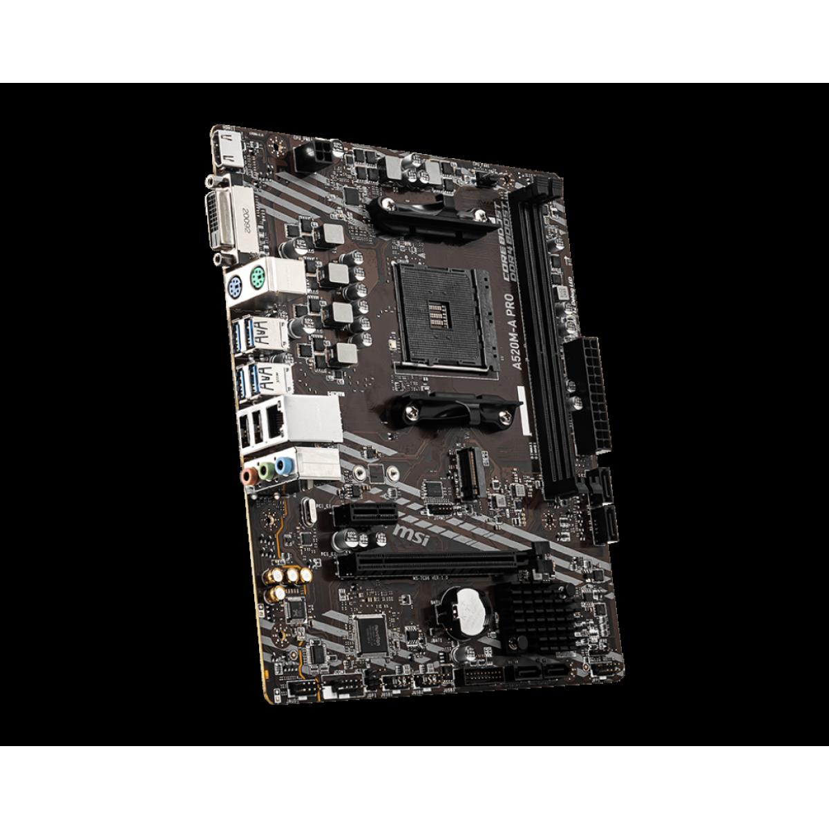 Placa Mãe MSI A520M-A PRO. Chipset A520, AMD AM4, mATX, DDR4, 911-7C96-002