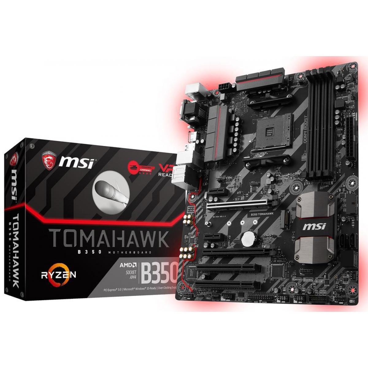 Placa Mãe MSI B350 Tomahawk, Chipset B350, AMD AM4, ATX, DDR4