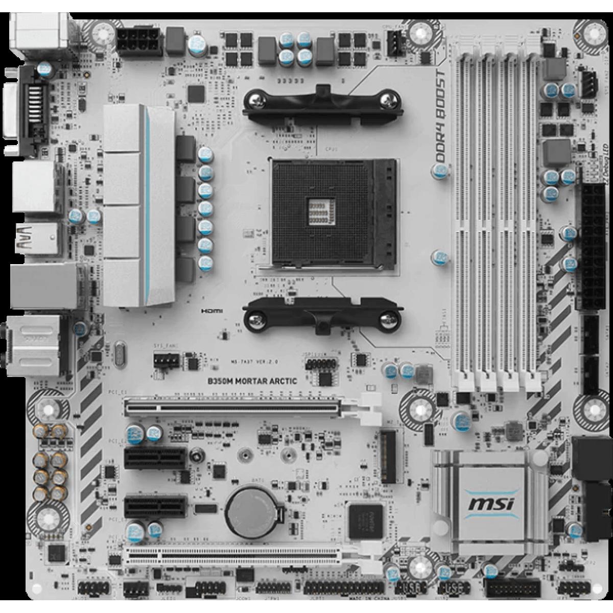 Placa Mãe MSI B350M Mortar Arctic, Chipset B350, AMD AM4, mATX, DDR4